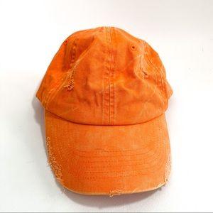 Distressed bright orange baseball cap/hat